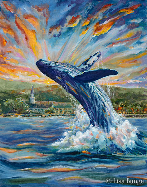 Painting of breaching humpback whale on the Big Island