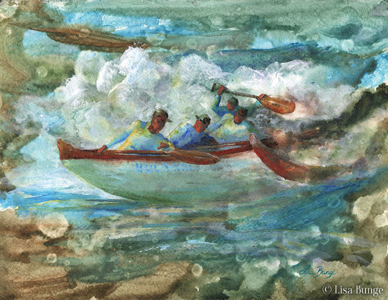 Painting of paddlers in an outrigger canoe