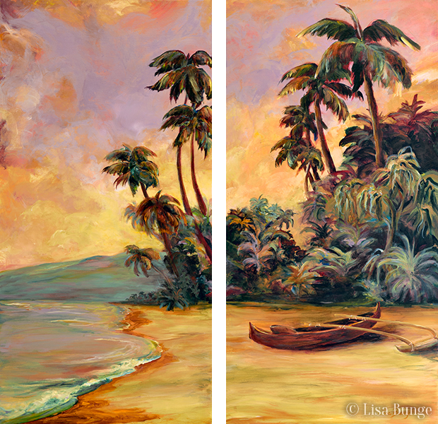 Painting of Hawaiian outrigger canone on the beach
