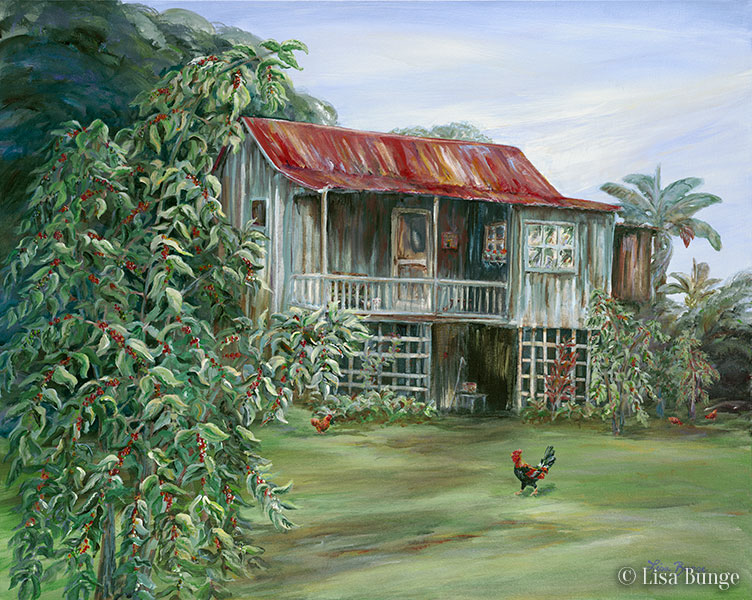Giclee of a classic Kona coffee shack painting