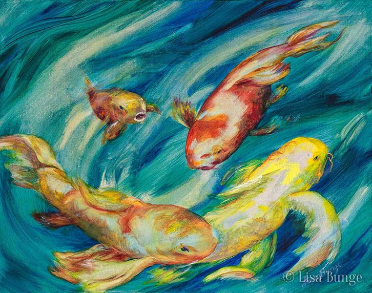 Painting of colorful koi swimming in Hawaii